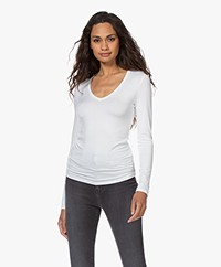 Majestic Filatures Soft Touch V-neck Long Sleeve - White