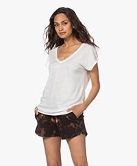 by-bar Mila Linnen V-hals T-shirt - Off-white