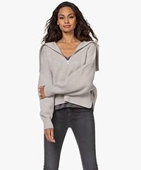 IRO Joanna Merino Wool Sweater with Zipper - Pearl Grey