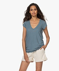 James Perse V-hals T-shirt in Extrafijne Jersey - Zero