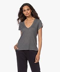 IRO Edison V-neck Viscose-Cashmere Blend T-shirt - Mixed Grey