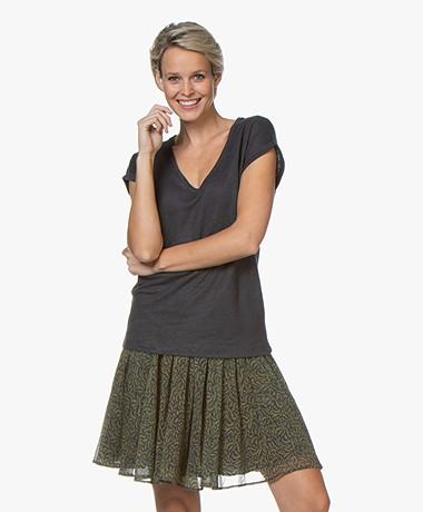 by-bar Mila Linen Jersey T-shirt - Midnight