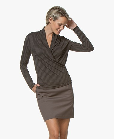 Belluna Swimmer Striped Wrap Long Sleeve - Brown/Anthracite