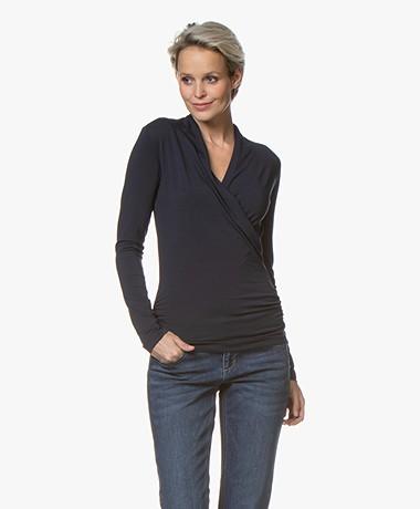 LaSalle Lyocell Jersey Overslag T-shirt - Navy