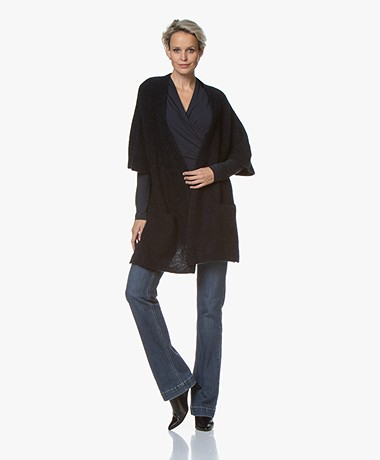 no man's land Mohair Blend Cardigan with Elbow-length Sleeves - Dark Sapphire