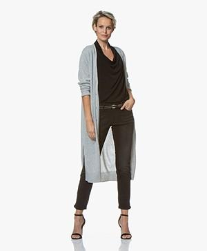Repeat Luxury Long Pure Cashmere Cardigan - Light Grey