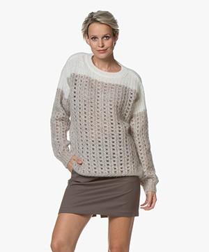 Closed Open-knit Ajour Trui - Platinum