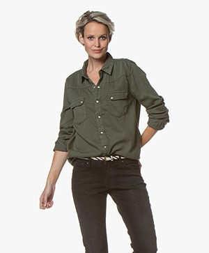 ba&sh Bridget Katoenen Blouse - Kaki