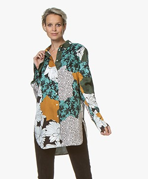 By Malene Birger Cologne Viscose Print Blouse - Misty Green