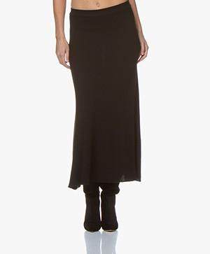 Repeat Knitted Merino Midi Skirt - Black
