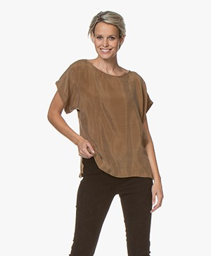 Drykorn Somia Cupro Blouse - Camel