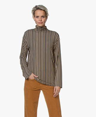 SIYU Lineas Finisimo Jersey Print Turtleneck L/S T-shirt - Dark Grey