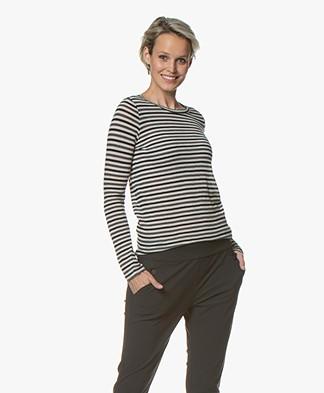Pomandère Striped Wool Blend Long Sleeve - Grey/Black/Off-white
