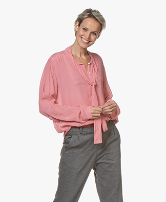 by-bar Kaatje Strikhals Blouse - Roze