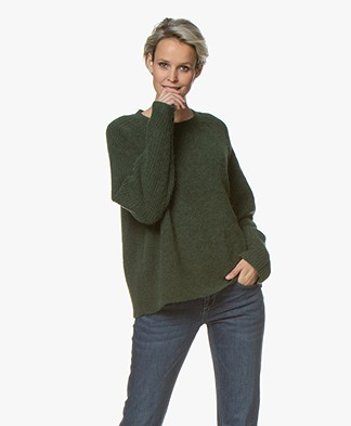 By Malene Birger Ana Ribbed Sleeve Alpaca Blend Sweater - Tent Green