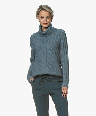 Repeat Rib Knitted Sweater with Cashmre - Lake