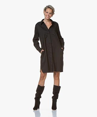 Repeat Cotton Blend Poplin Dress - Black