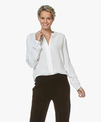 by-bar Indy Viscose Crepe Blouse - Off-white