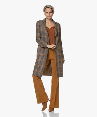 Josephine & Co Gamma Checked Blazer Coat - Dark Brown