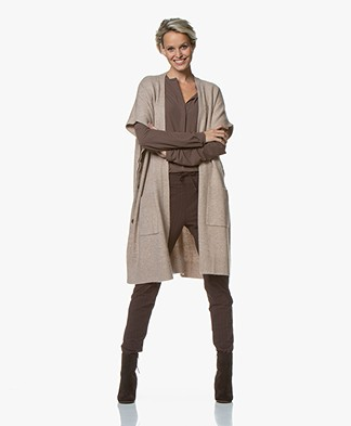 Repeat Short Sleeve Poncho Cardigan - Sand