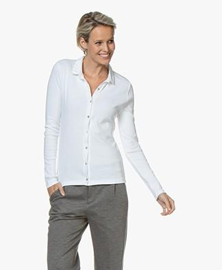 Belluna Parigi Jersey Blouse with Stud Details - White