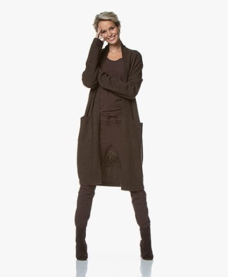 Josephine & Co Gauke Open Wool Blend Cardigan - Dark Brown