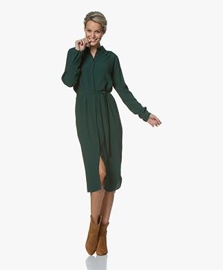 by-bar Jonna Viscose Midi Shirt Dress - Dark Green