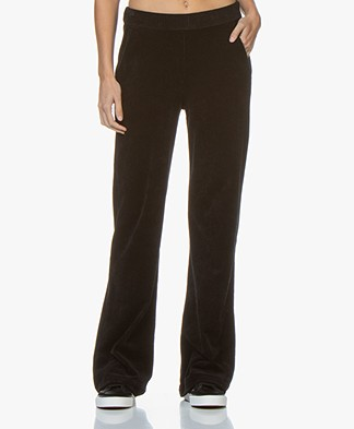 Majestic Filatures Jersey Velvet Rib Pants with Cashmere - Black