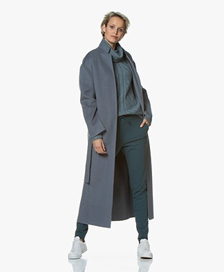 Filippa K Alexa Cashmere Blend Woolen Coat - Blue Grey