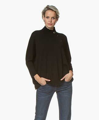 Repeat Merino Turtleneck Sweater with Button Placket - Black