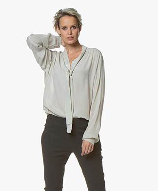 by-bar Kaatje Strikhals Blouse - Stone Silver