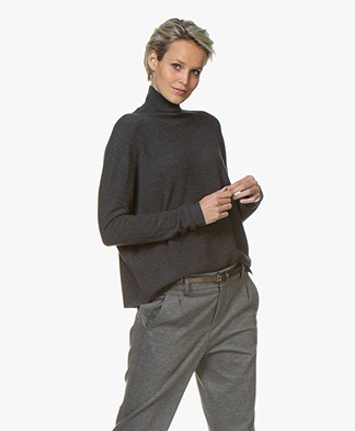 Drykorn Lyza Knitted Turtleneck Sweater in Virgin Wool - Dark Grey Melange