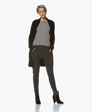 Belluna Oscar Wool Blend Rib Cardigan - Black