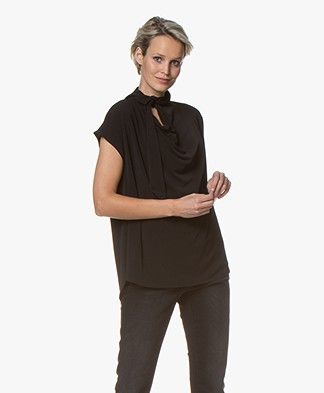 By Malene Birger Katie Crepe Jersey Blouse Top with Tie Neck - Black