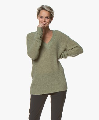 LaSalle V-neck Sweater with Mohair - Green