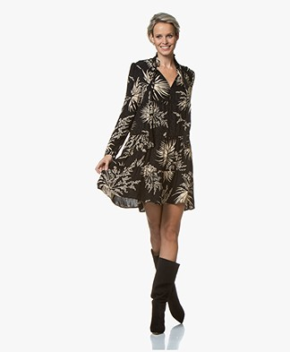 ba&sh Eugenie A-line Printed Dress with Neck-tie - Black