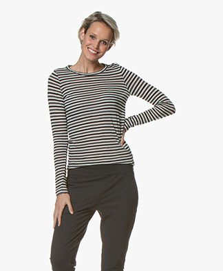 Pomandère Striped Wool Blend Long Sleeve - Grey/Black/Off-white