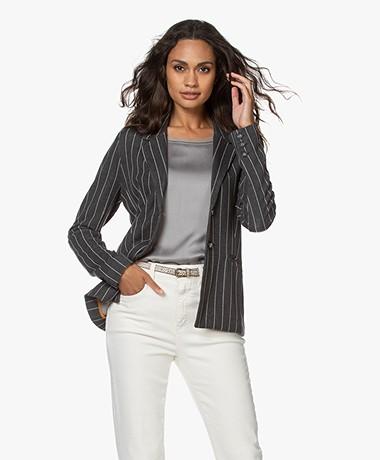 Kyra & Ko Limony Jersey Pinstripe Blazer - Iron
