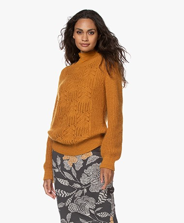 Kyra & Ko Isrid Cable Ajour Sweater - Gold Spice