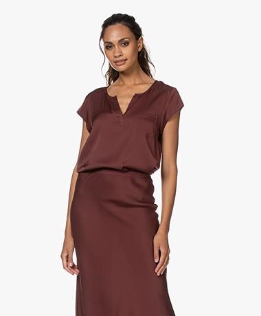 Repeat Silk Cap Sleeve Blouse - Burgundy
