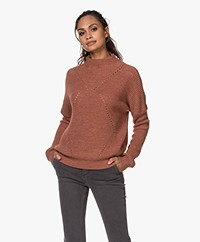 indi & cold Pointelle Knitted Funnelneck Sweater - Marsala