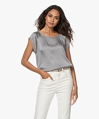 no man's land Stretch Zijden Korte Mouwen Blouse - Steel
