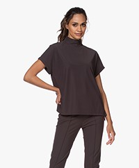 Josephine & Co Joe Travel Jersey Mock Neck T-shirt - Brown