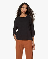 Drykorn Lenilia T-shirt met Driekwart Mouwen - Off-black