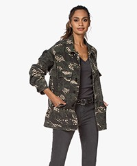 Zadig & Voltaire Kansas Camo Leo Cotton Blend Jacket - Khaki
