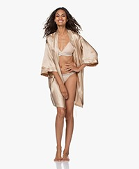 By Dariia Day Mulberry Silk Robe - French Beige