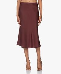 Repeat Silk Bias-cut Midi Skirt - Burgundy