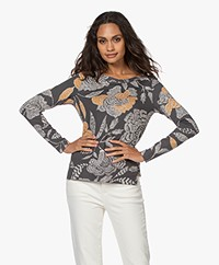 Kyra & Ko Maudi French Terry Long Sleeve with Floral Print - Iron