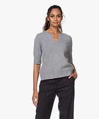 Repeat Cashmere Short Sleeve Sweater - Light Grey