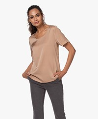 Repeat Silk Short Sleeve Blouse - Camel